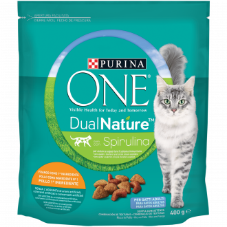 PURINA ONE DUALNATURE Crocchette Gatto Adult Ricco in Pollo e con Spirulina naturale