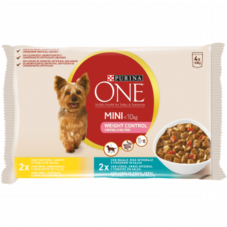 PURINA ONE MINI < 10kg Bocconi in salsa Cane Controllo del Peso con Tacchino, Maiale e Verdure