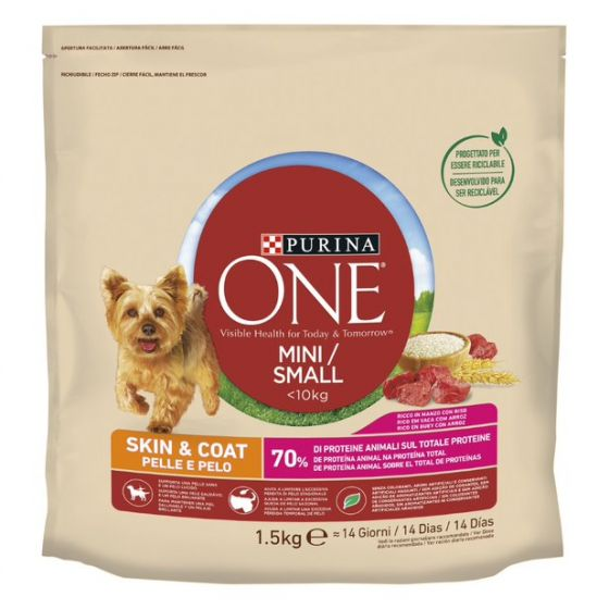 PURINA ONE MINI < 10kg Crocchette  Cane Pelle e Pelo con Manzo e Riso