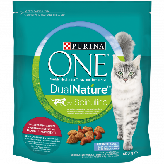 PURINA ONE DUALNATURE Crocchette Gatto Adult Ricco in Manzo e con Spirulina naturale
